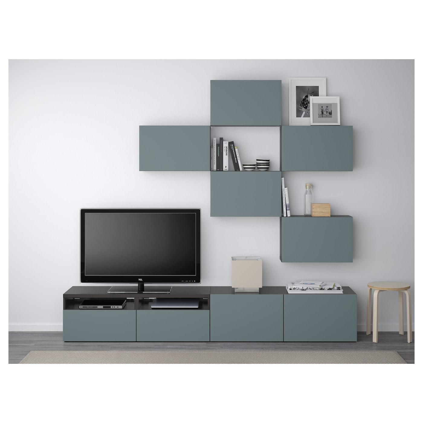 Best Combinaison Meuble Tv Brun Noir Valviken Gris Turquoise  # Meuble Tv Noir Ikea