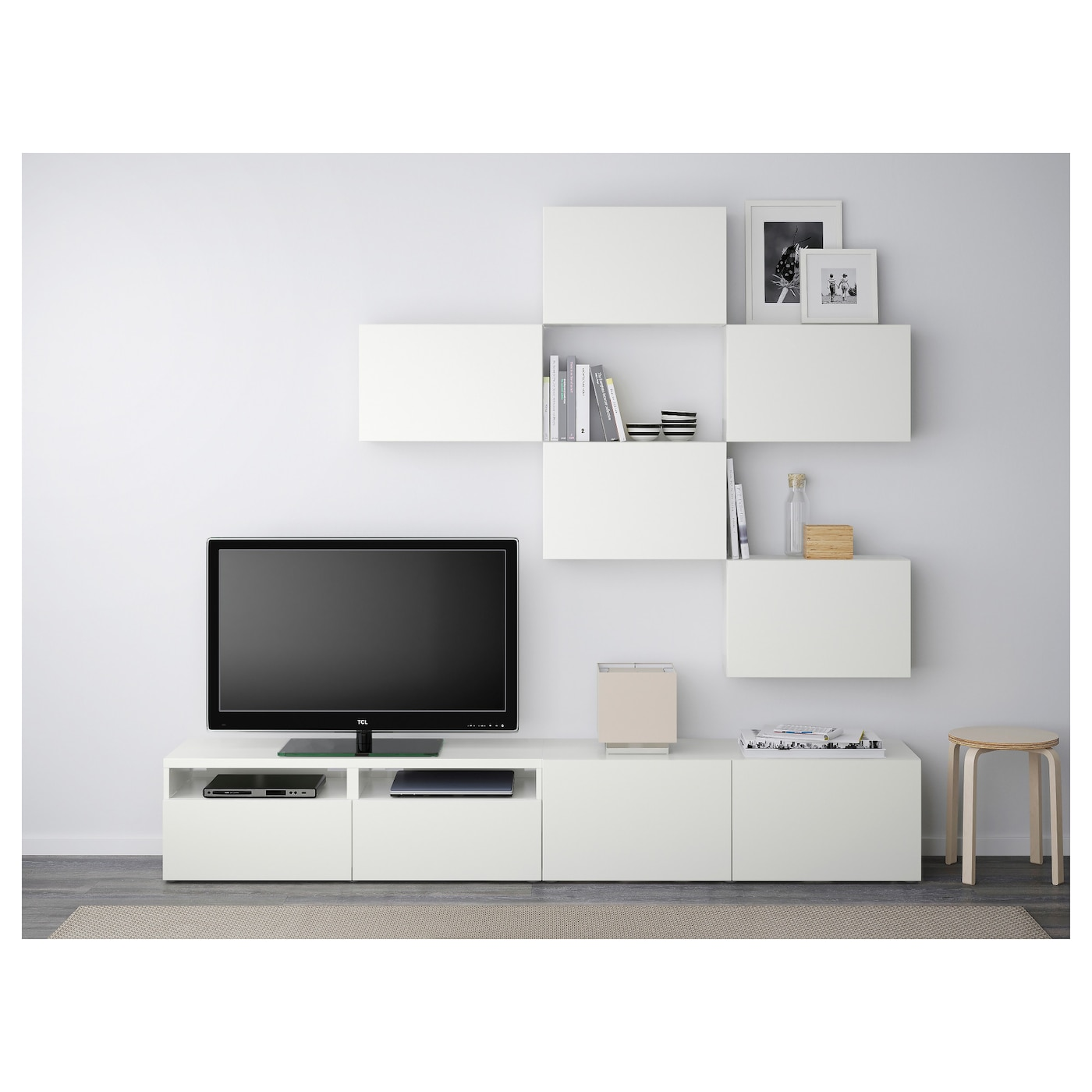 Best Combinaison Meuble Tv Lappviken Blanc 240×20 40×204 Cm Ikea # Meuble Tv Tablette