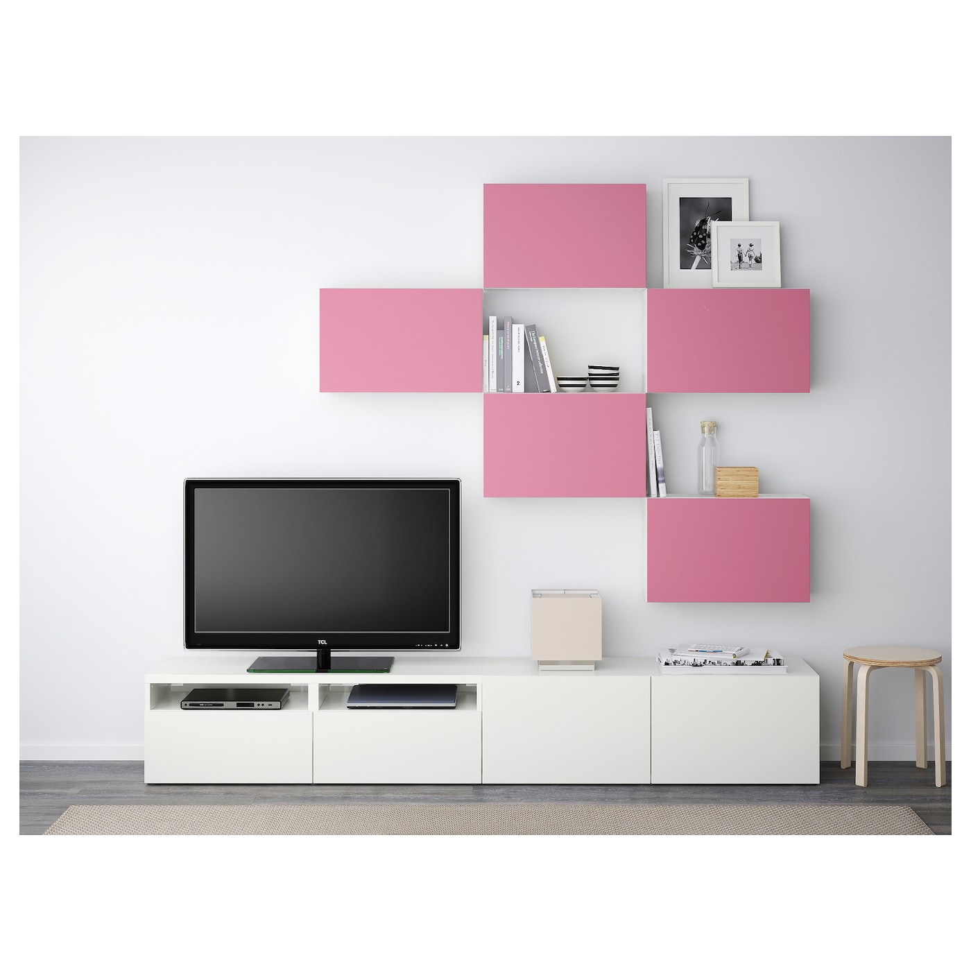 Best Combinaison Meuble Tv Lappviken Rose Blanc 240×20 40×204 Cm  # Meuble Tv Rose