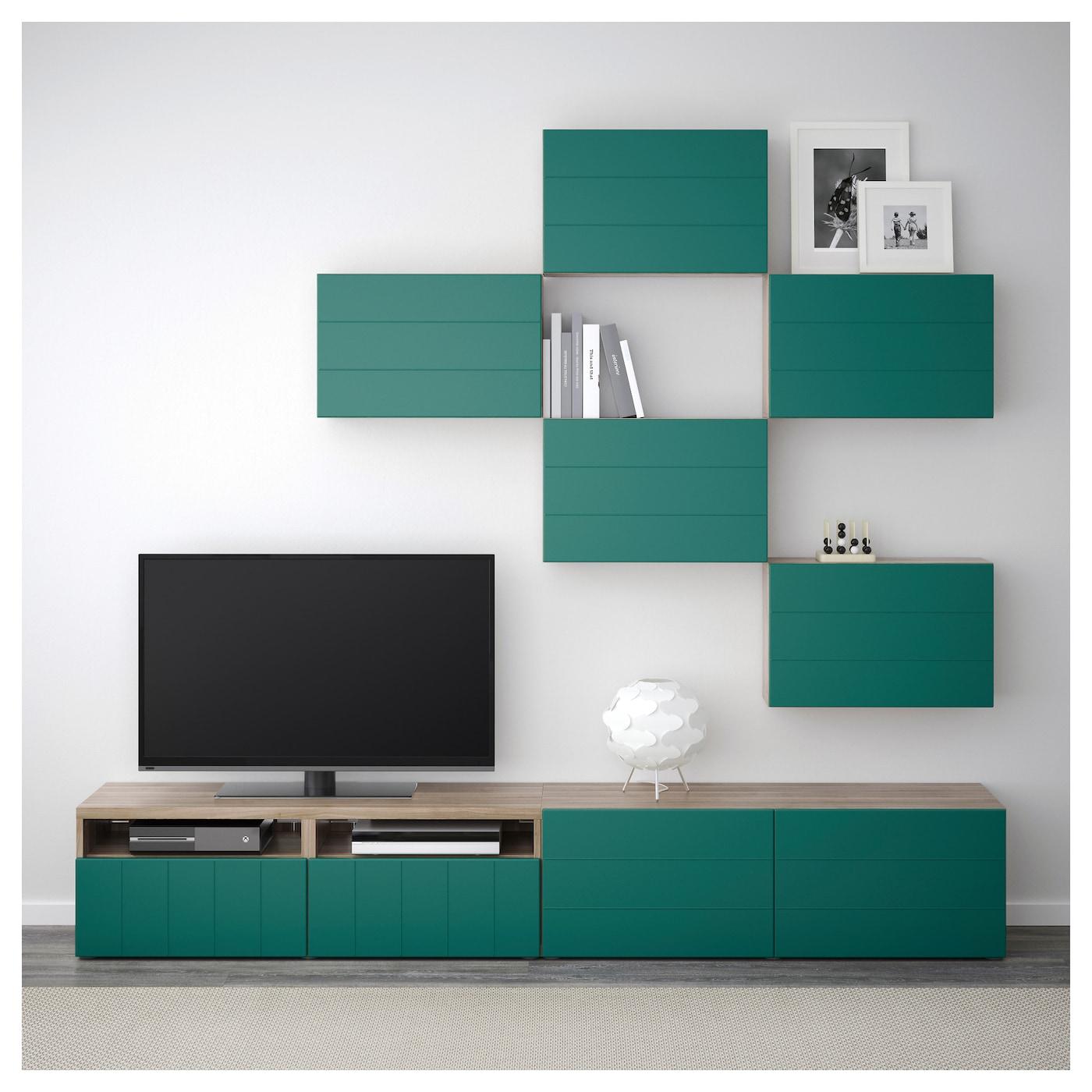 Best Combinaison Meuble Tv Motif Noyer Teint Gris Hallstavik  # Meuble Tv Vert