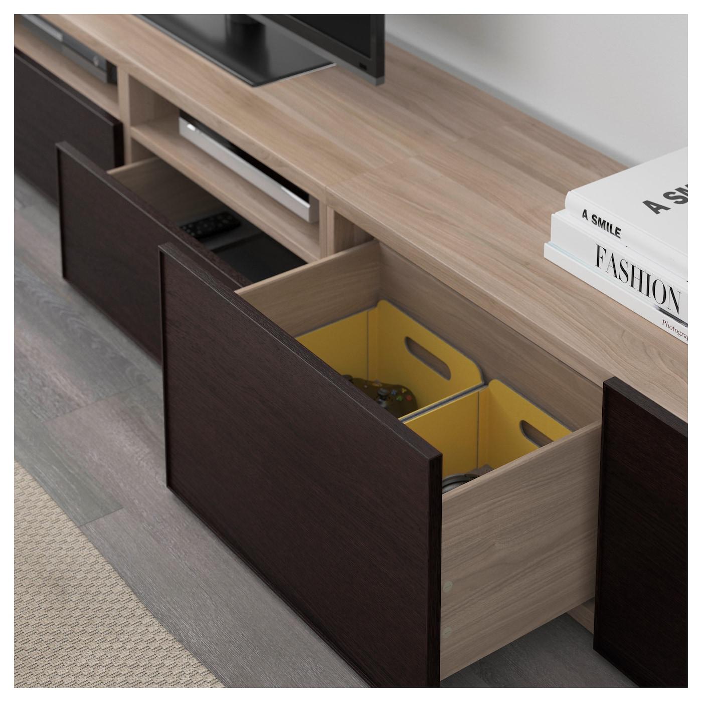 best combinaison meuble tv motif noyer teint gris inviken brun noir 240x20 40x204 cm ikea. Black Bedroom Furniture Sets. Home Design Ideas