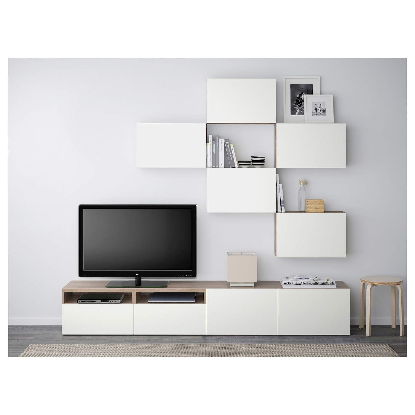 best combinaison meuble tv motif noyer teint gris lappviken blanc 240x20 40x204 cm ikea. Black Bedroom Furniture Sets. Home Design Ideas
