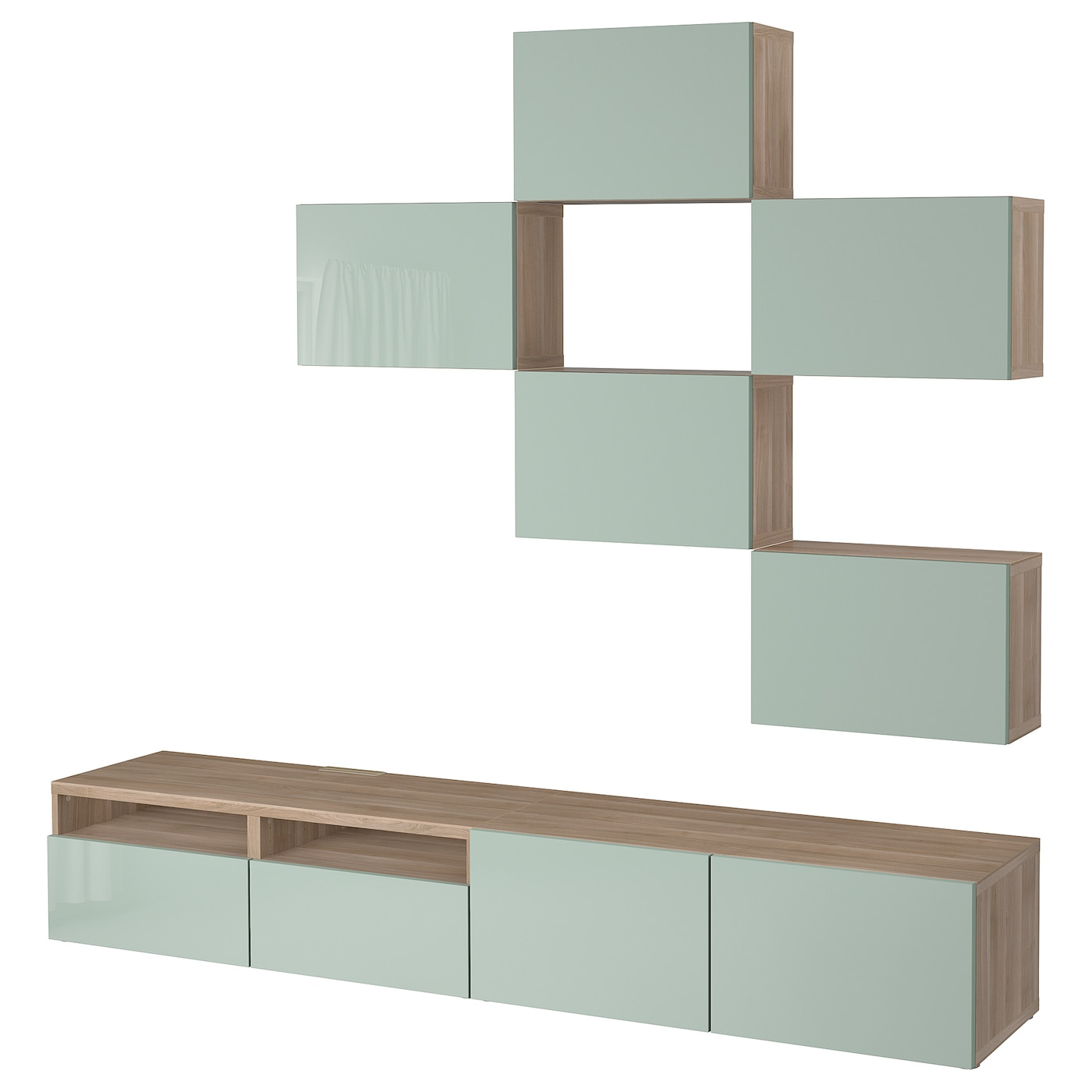 best combinaison meuble tv motif noyer teint gris selsviken brillant gris vert clair 240 x 20. Black Bedroom Furniture Sets. Home Design Ideas
