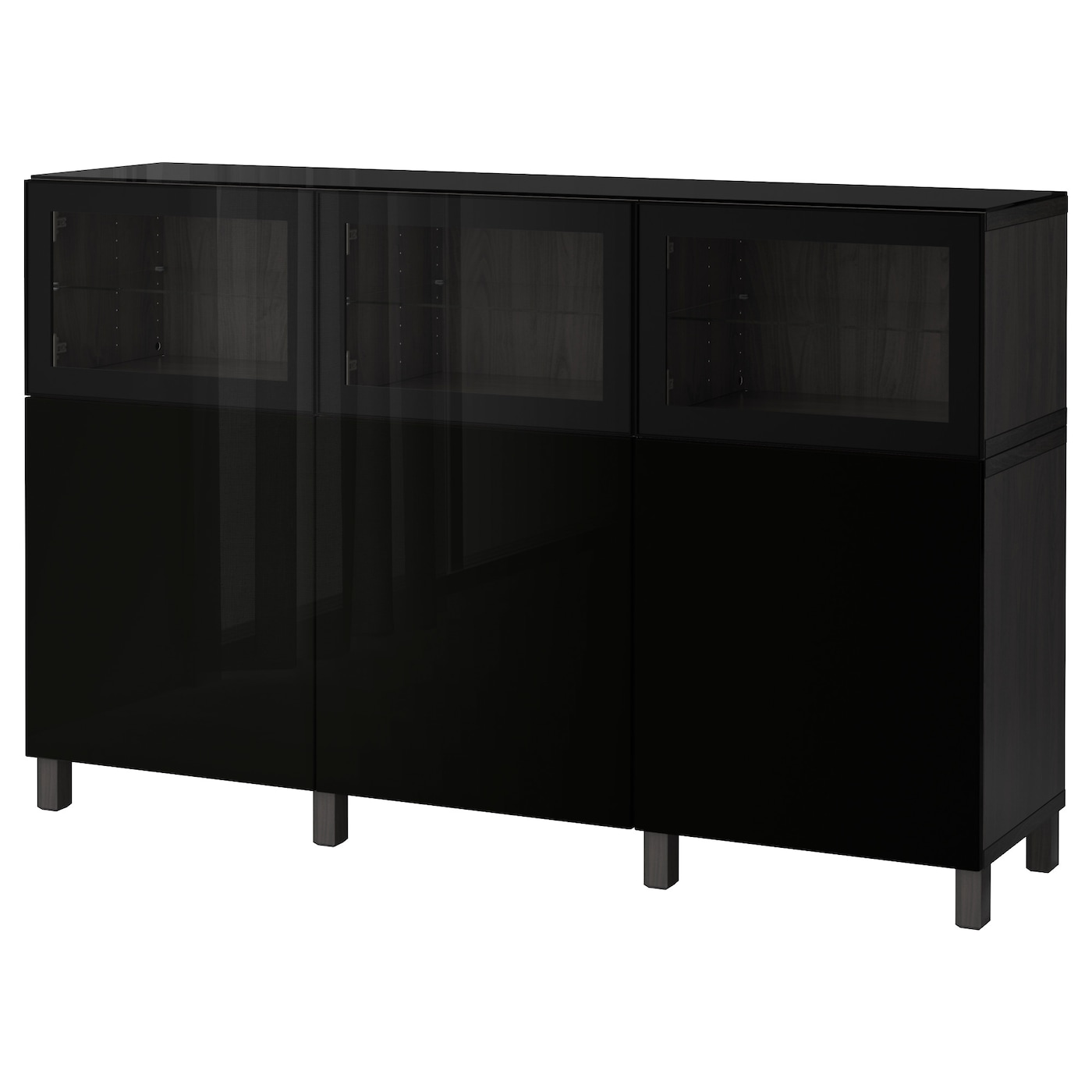 best combinaison rangement portes brun noir selsviken glassvik brillant noir verre transparent. Black Bedroom Furniture Sets. Home Design Ideas