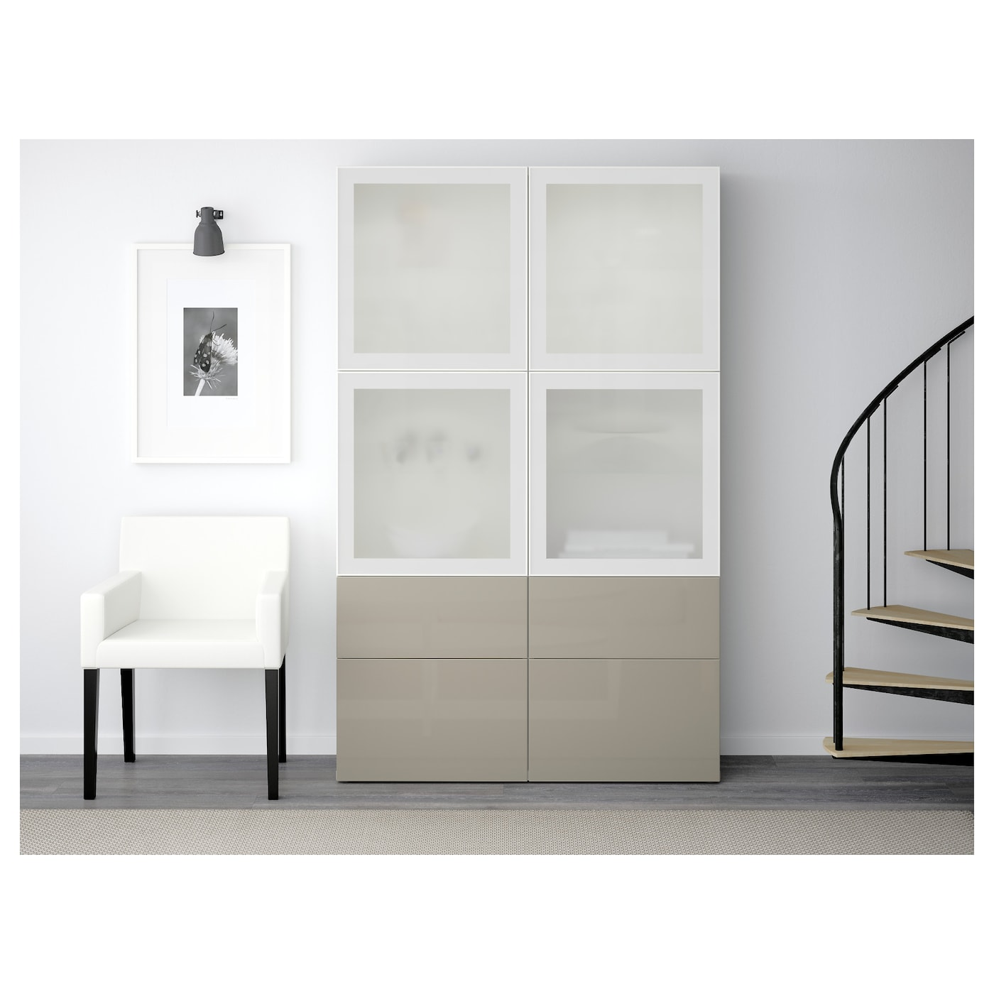 best combinaison rangement ptes vitr es blanc selsviken brillant beige verre givr 120 x 40 x. Black Bedroom Furniture Sets. Home Design Ideas