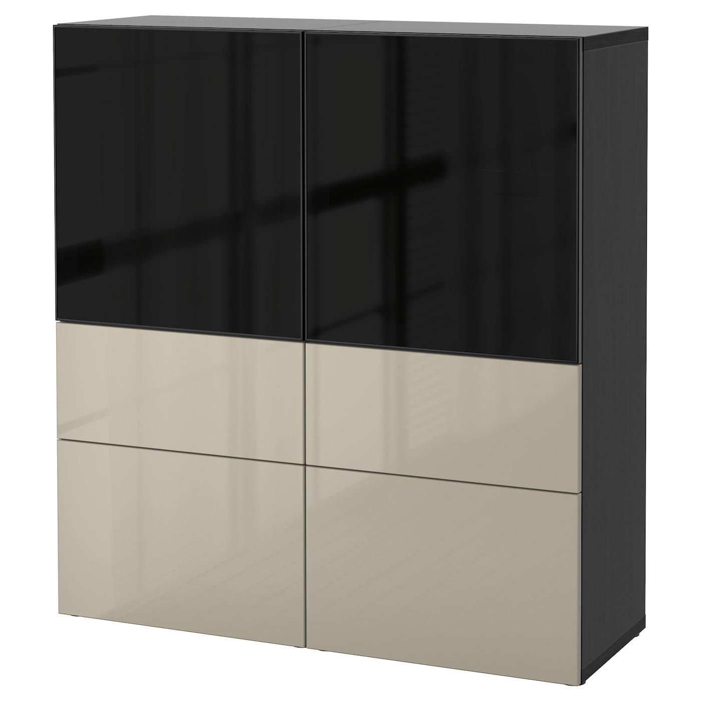 best combinaison rangement ptes vitr es brun noir selsviken brillant beige verre fum 120 x 40. Black Bedroom Furniture Sets. Home Design Ideas