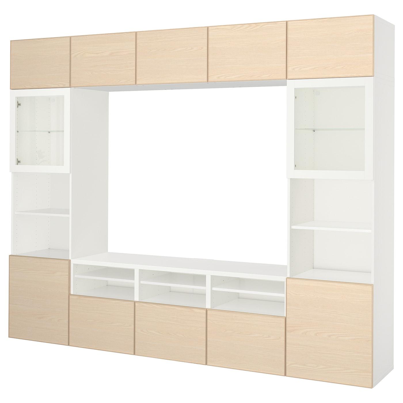 bestÅ combinaison rangt tv/vitrines blanc/inviken plaqué frêne 300 x