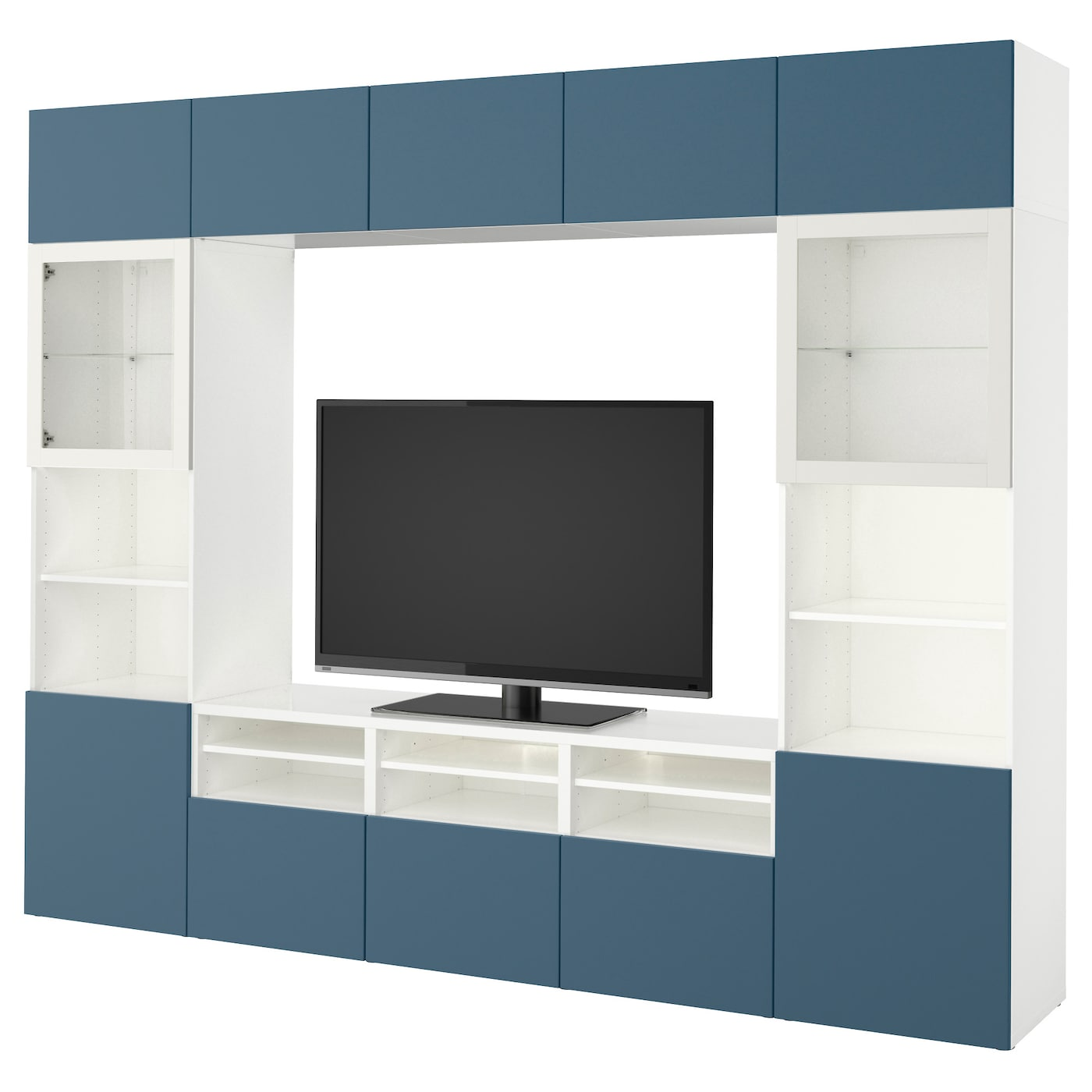 best combinaison rangt tv vitrines blanc valviken bleu fonc verre transparent 300x40x230 cm ikea. Black Bedroom Furniture Sets. Home Design Ideas