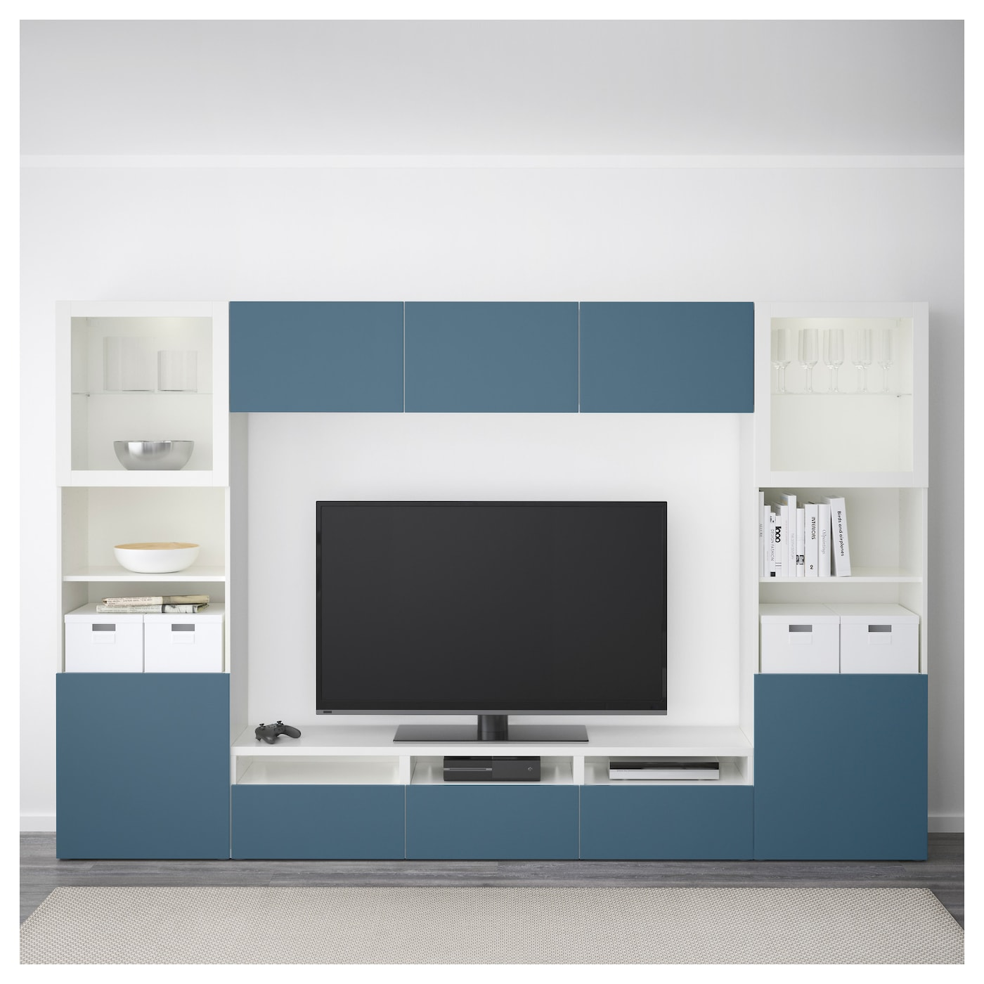 best combinaison rangt tv vitrines blanc valviken bleu fonc verre transparent 300x40x192 cm ikea. Black Bedroom Furniture Sets. Home Design Ideas