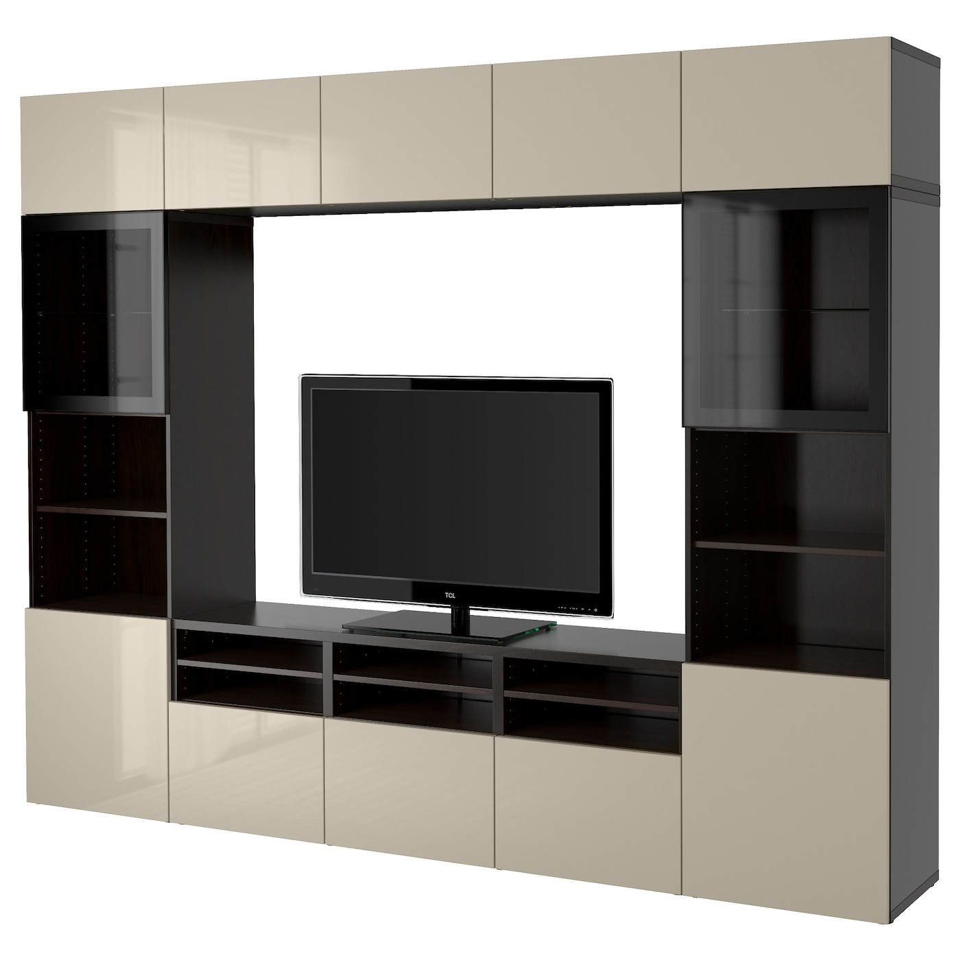 best combinaison rangt tv vitrines brun noir selsviken brillant beige verre transparent 300 x. Black Bedroom Furniture Sets. Home Design Ideas