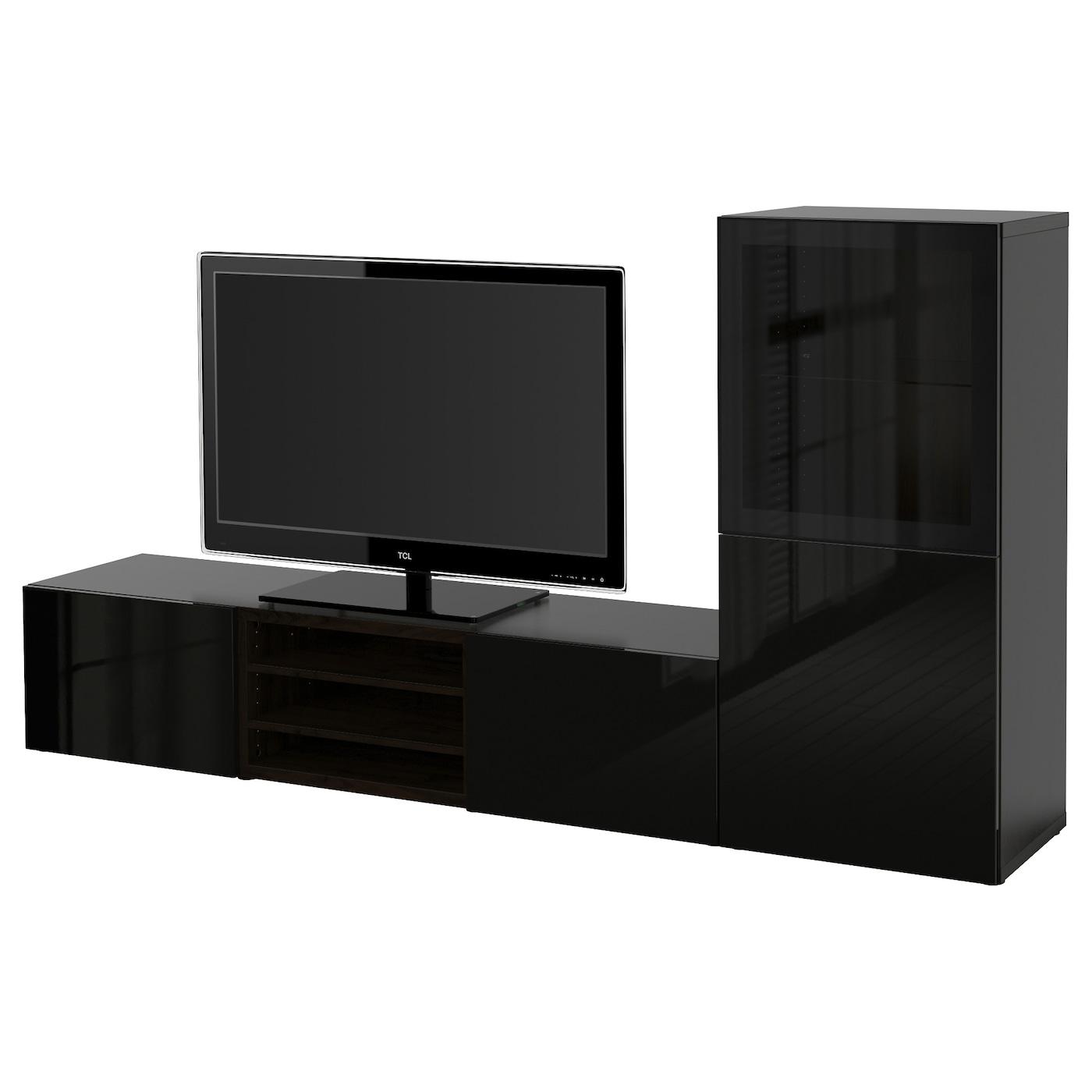 Best Combinaison Rangt Tv Vitrines Brun Noir Selsviken Brillant  # Panneau Mural Tv Ikea