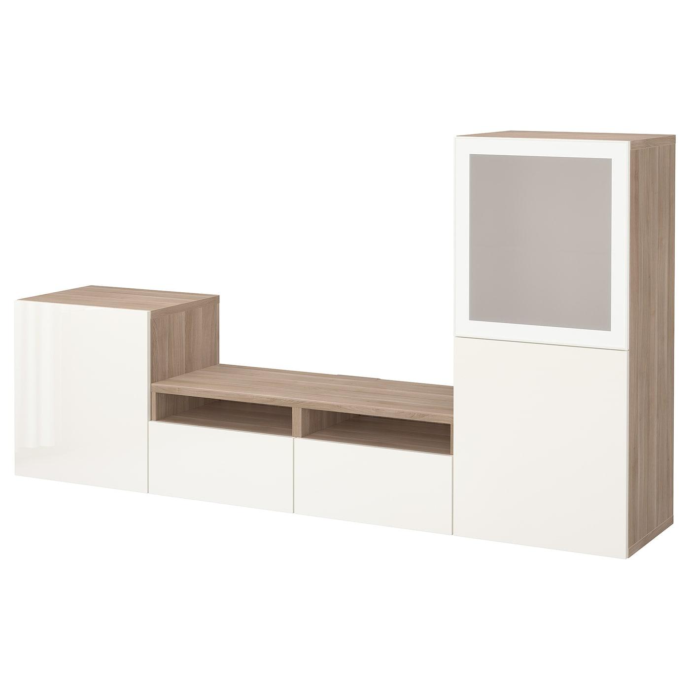 bestÅ combinaison rangt tv/vitrines motif noyer teinté gris