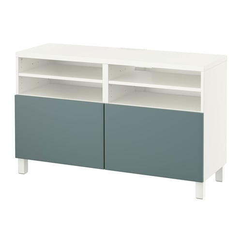 best banc tv avec portes blanc valviken gris turquoise. Black Bedroom Furniture Sets. Home Design Ideas