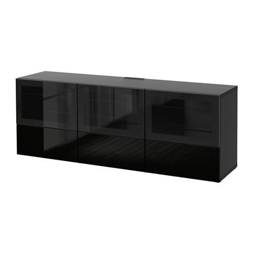 Banc Tv Ikea Noir : Banc Tv Avec Portes Et Tiroirs – Brun Noirselsviken Brillantnoir