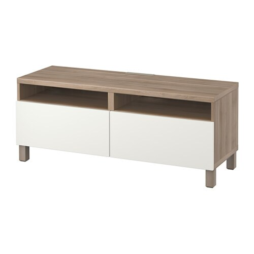 best banc tv avec tiroirs motif noyer teint gris lappviken blanc glissi re tiroir ouv par. Black Bedroom Furniture Sets. Home Design Ideas