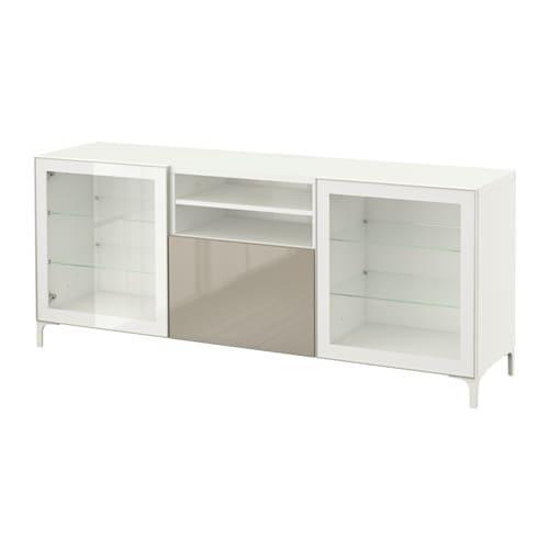 best banc tv avec tiroirs blanc selsviken brillant beige verre transparent glissi re tiroir. Black Bedroom Furniture Sets. Home Design Ideas