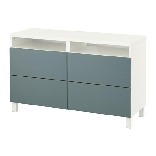 best banc tv avec tiroirs blanc valviken gris turquoise glissi re tiroir ouv par pression. Black Bedroom Furniture Sets. Home Design Ideas