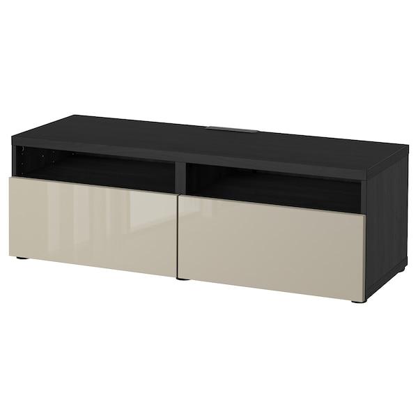 BESTÅ Banc TV avec tiroirs, brun noir/Selsviken brillant/beige, 120x42x39 cm