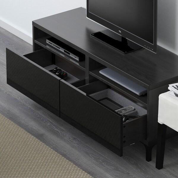 BESTÅ Banc TV avec tiroirs, brun noir/Selsviken brillant/noir, 120x42x48 cm