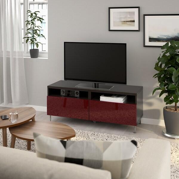 BESTÅ Banc TV avec tiroirs, brun noir Selsviken/Stallarp/brillant brun-rouge foncé, 120x42x48 cm