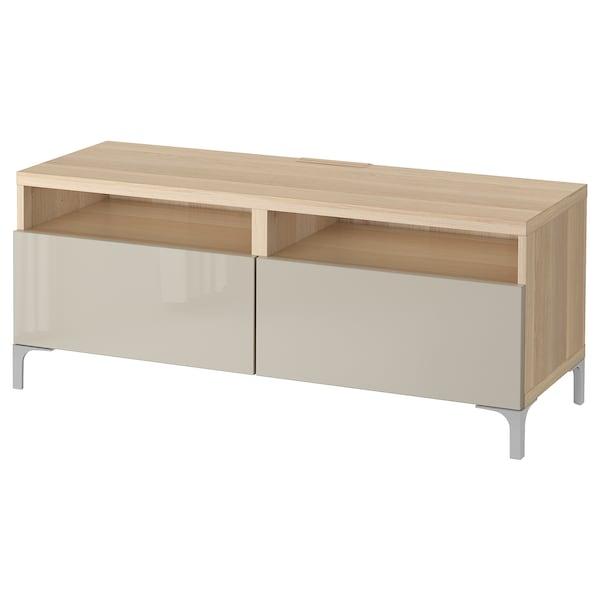 BESTÅ Banc TV avec tiroirs, effet chêne blanchi/Selsviken brillant/beige, 120x42x48 cm
