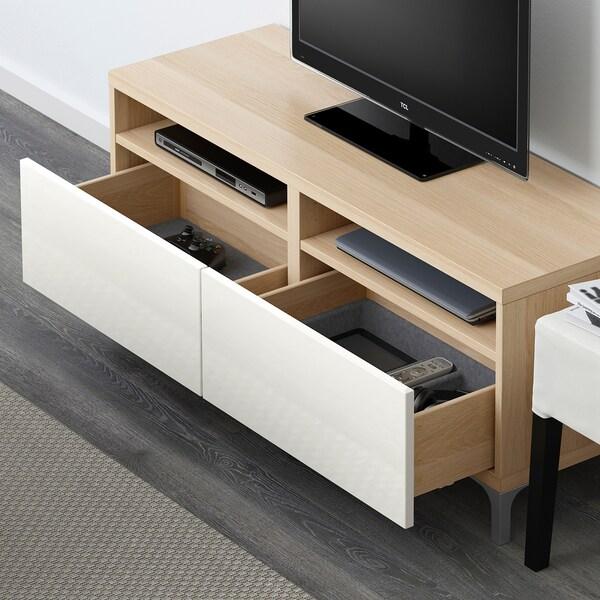 BESTÅ Banc TV avec tiroirs, effet chêne blanchi/Selsviken brillant/blanc, 120x42x48 cm