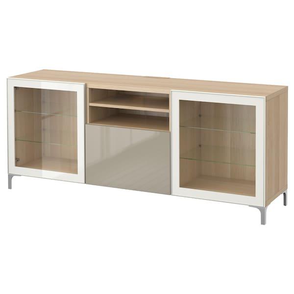 BESTÅ Banc TV avec tiroirs, effet chêne blanchi/Selsviken/Nannarp brillant/beige verre transparent, 180x42x74 cm