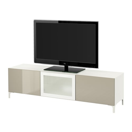 best banc tv avec tiroirs et porte blanc selsviken brillant beige verre givr glissi re. Black Bedroom Furniture Sets. Home Design Ideas