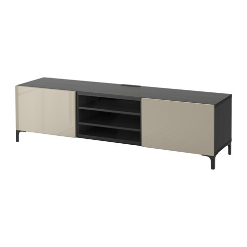 best banc tv avec tiroirs brun noir selsviken brillant beige glissi re tiroir ouv par. Black Bedroom Furniture Sets. Home Design Ideas