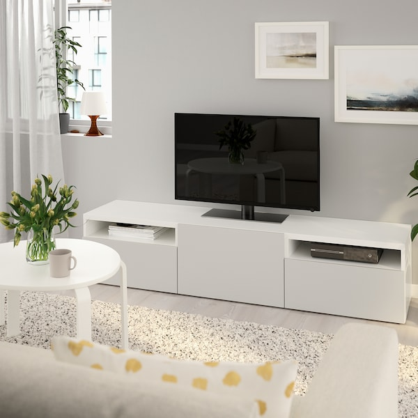 BESTÅ Banc TV, blanc/Lappviken gris clair, 180x42x39 cm