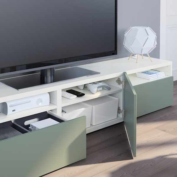 BESTÅ Banc TV, blanc/Notviken gris vert, 180x42x39 cm