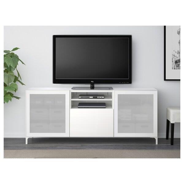 BESTÅ Banc TV, blanc/Selsviken brillant/blanc verre givré, 180x40x74 cm