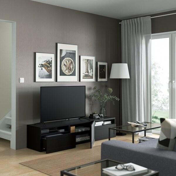 BESTÅ Banc TV, brun noir/Hanviken brun noir, 180x42x39 cm