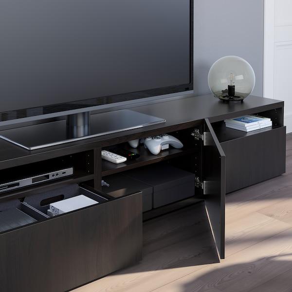 BESTÅ Banc TV, brun noir/Lappviken brun noir, 180x42x39 cm