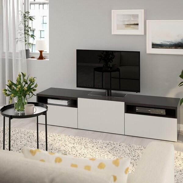 BESTÅ Banc TV, brun noir/Lappviken gris clair, 180x42x39 cm
