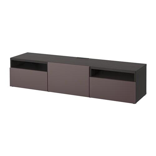 best banc tv brun noir valviken brun fonc glissi re. Black Bedroom Furniture Sets. Home Design Ideas
