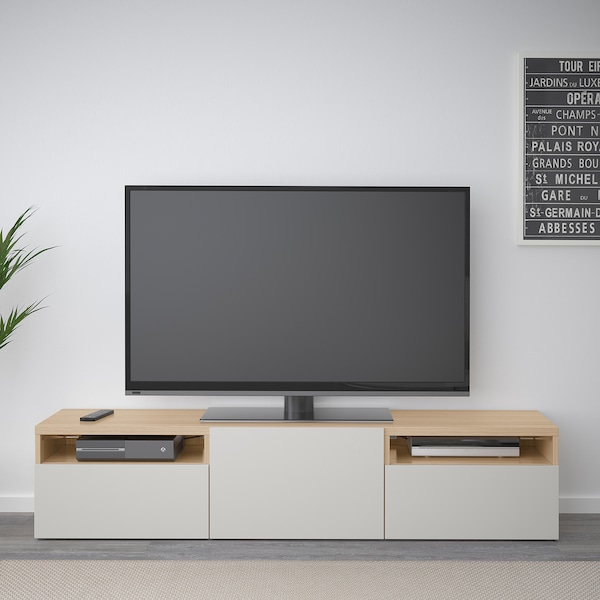 BESTÅ Banc TV, effet chêne blanchi/Lappviken gris clair, 180x42x39 cm