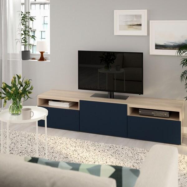 BESTÅ Banc TV, effet chêne blanchi/Notviken bleu, 180x42x39 cm