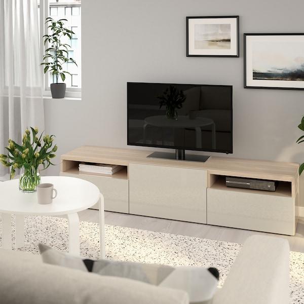BESTÅ Banc TV, effet chêne blanchi/Selsviken brillant/beige, 180x42x39 cm