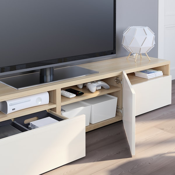 BESTÅ Banc TV, effet chêne blanchi/Selsviken brillant/blanc, 180x42x39 cm