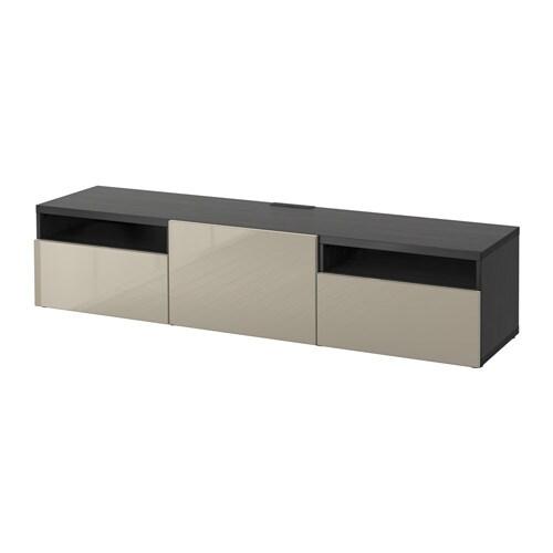 best banc tv brun noir selsviken brillant beige glissi re tiroir fermeture silence ikea. Black Bedroom Furniture Sets. Home Design Ideas