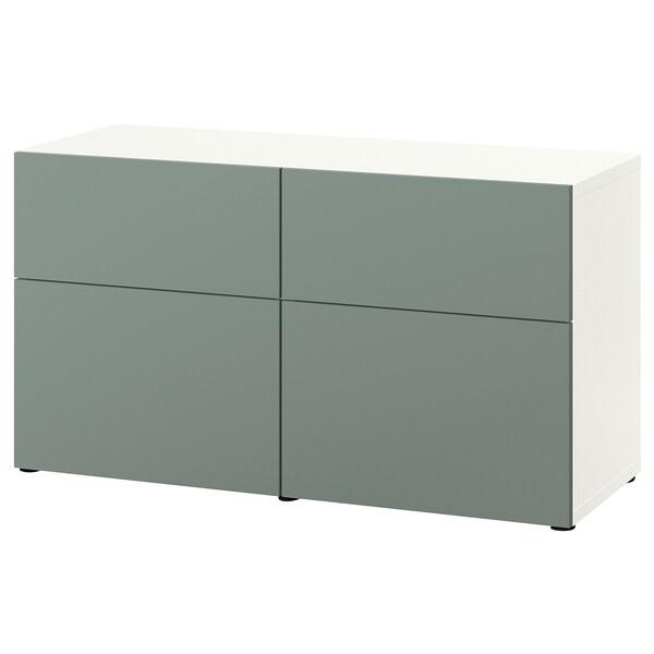 BESTÅ Combi rangement portes/tiroirs, blanc/Notviken gris vert, 120x42x65 cm