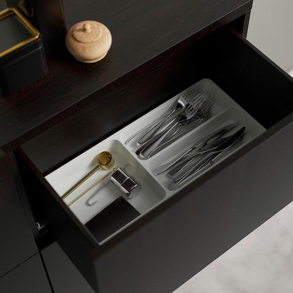 BESTÅ Combi rangement portes/tiroirs, brun noir/Lappviken/Stubbarp brun noir verre transparent, 120x42x213 cm