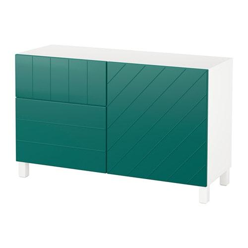 Best combi rgt portes tiroirs blanc hallstavik bleu - Glissiere de tiroir a fermeture amortie ...