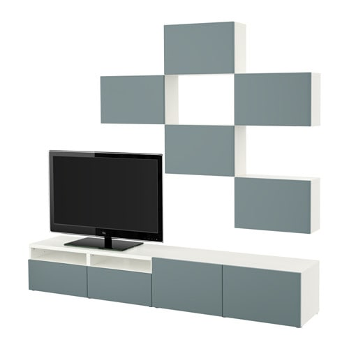 Best combinaison meuble tv blanc valviken gris for Meuble tv suspendu gris