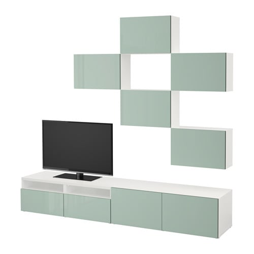 best combinaison meuble tv blanc selsviken brillant gris vert clair glissi re tiroir. Black Bedroom Furniture Sets. Home Design Ideas