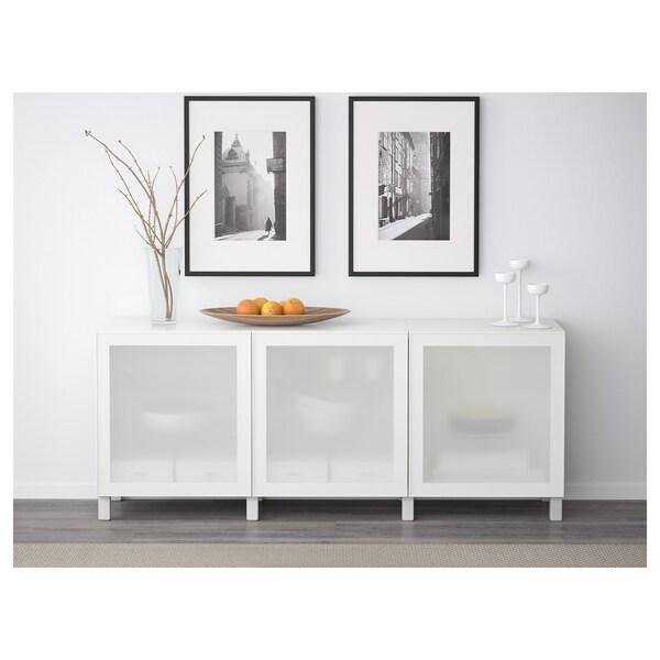 BESTÅ Combinaison rangement portes, blanc/Glassvik/Stubbarp blanc verre givré, 180x42x74 cm