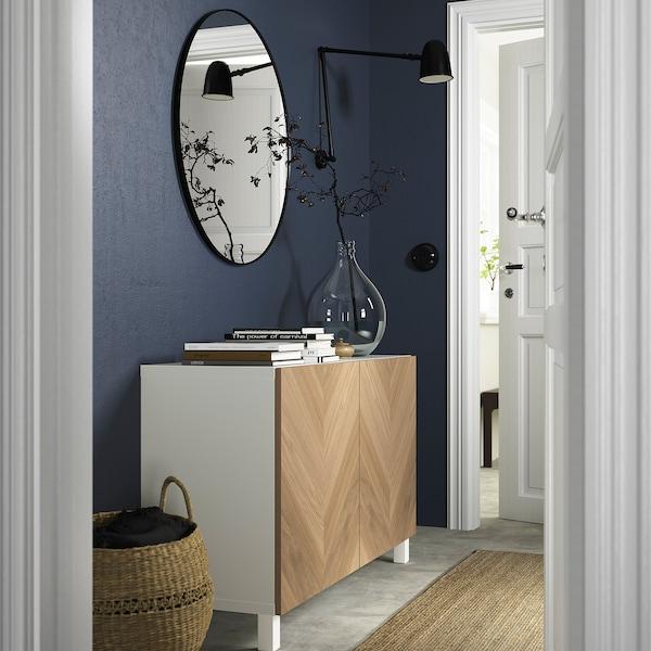 BESTÅ Combinaison rangement portes, blanc/Hedeviken/Stubbarp plaqué chêne, 120x42x74 cm