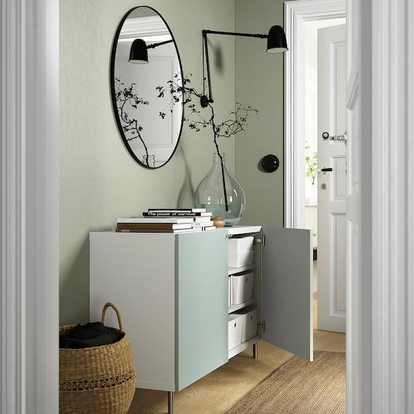BESTÅ Combinaison rangement portes, blanc/Hjortviken/Ösarp gris-vert pâle, 120x42x74 cm
