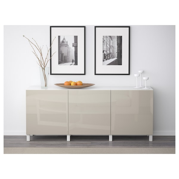BESTÅ Combinaison rangement portes, blanc/Selsviken brillant/beige, 180x42x65 cm